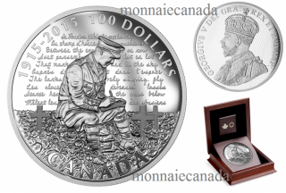 2015 - $100 - 10 oz. Fine Silver Coin – 100th Anniversary of In Flanders Fields