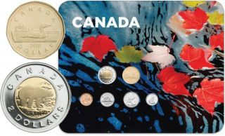 2010 Circulation 6 Coins Collector Card - Maple Leaves