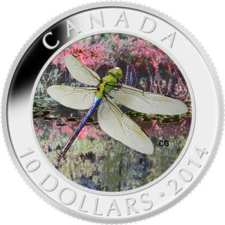 2014 - $10 - 1/2 oz. Fine Silver Hologram Coin - Green Darner Dragonfly