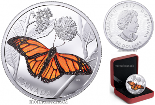 2017 - $50 - 3 oz. Pure Silver Coloured Coin - Monarch Migration