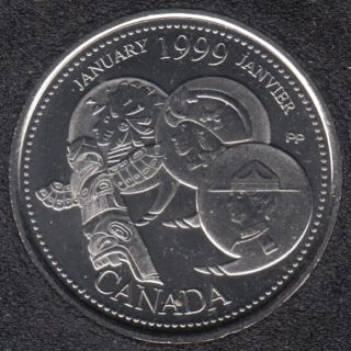 1999 - #1 B.Unc - January - Canada 25 Cents
