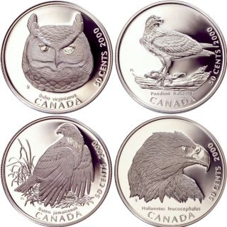 2000 Sterling Silver Fifty cents Four coin Set 50 cent Birds of prey