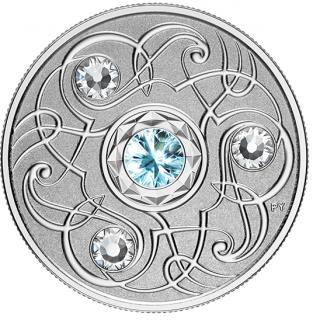 2020 - $5 - Pierre de naissance de mars – Pièce en argent pur rehaussée de cristaux SwarovskiMD