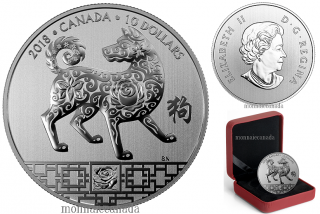 2018 - $10 - 1/2 oz. Pure Silver Coin - Year of the Dog