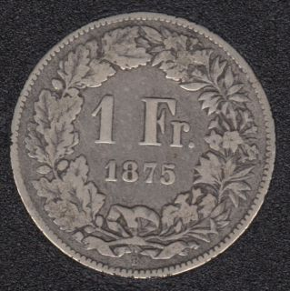 Switzerland - 1875 B - 1 Franc - Silver