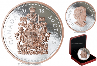 2018 - 5¢ - 5 oz. Pure Silver Coin with Rose Gold Plating - Big Coin Series: Coat of Arms