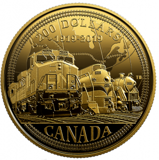 2019 - $200 - Pure Gold Coin - 100th Anniversary of CN Rail
