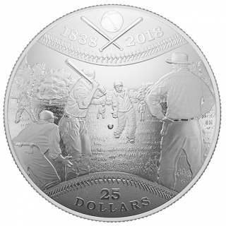 2018 - $25 - Pure Silver Convex Coin - 180th Anniversary of Canadian Baseball