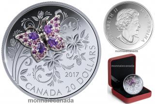 2017 - $20 - 1 oz en argent pur - Petits trésors d'insecte : Papillon
