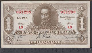 1928 - 1 Boliviano - Bolivie