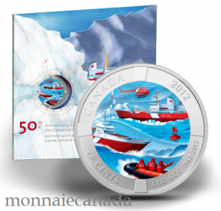 2012 - 25-Cent Coloured Coin - 50th Anniversary of the Canadian Coast Guard