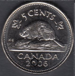 2006 - B.Unc - Dot in '0' - Canada 5 Cents