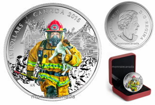 2016 - $15 - Pure Silver Coloured Coin – National Heroes: Firefighter