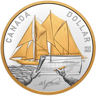 2021 1921 - Bluenose - Proof - Argent Fin - Plaqué Or - Canada Dollar
