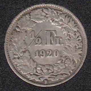 1920 B - 1/2 Franc - Suisse