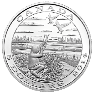 2014 - $5 - Fine Silver Coin - Tradition of Hunting: Canada Goose