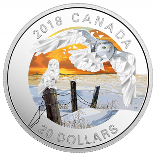 2018 - $20 - 1 oz. Pure Silver Coloured Coin - Geometric Fauna: Snowy Owls
