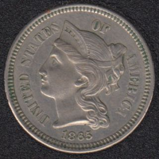 1865 - AU - Nickel 3  Cents