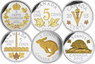 2015 Canada 5 Cents Fine Silver - 6 Coin Set - Legacy of Nickels
