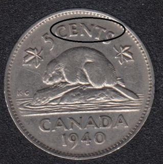 1940 - Die Break CENTS Attached - Canada 5 Cents