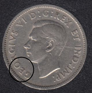 1940 - Die Break in O & GEO Attached - Canada 5 Cents