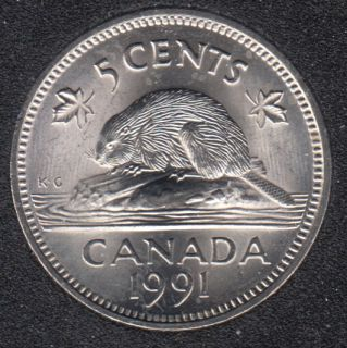 1991 - B.Unc - Canada 5 Cents