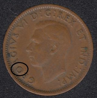 1945 - Dot on O - Canada Cent