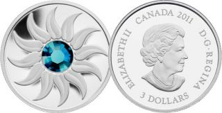 2011 - $3 - Fine Silver Coin - December Birthstone (Zircon)