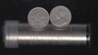 1928 Canada 5 Cents - Roll 40 Coins in Plastic Tubes