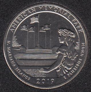 2019 S - B.Unc - American Memorial Park - 25 Cents