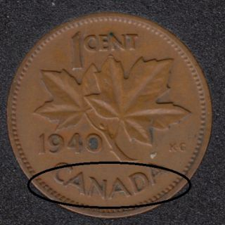 1940 - Break CANADA Attached - Canada Cent