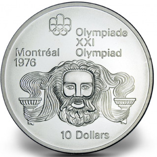 1976 - #05 (1974) - $10 - Pièce en argent sterling, Jeux olympiques d'été à Montréal, Zeus