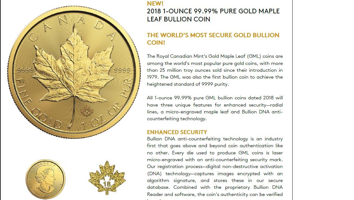 2018 - $50 - 1oz Fine Gold 9999 - Gold Maple Leaf - Canada Coins